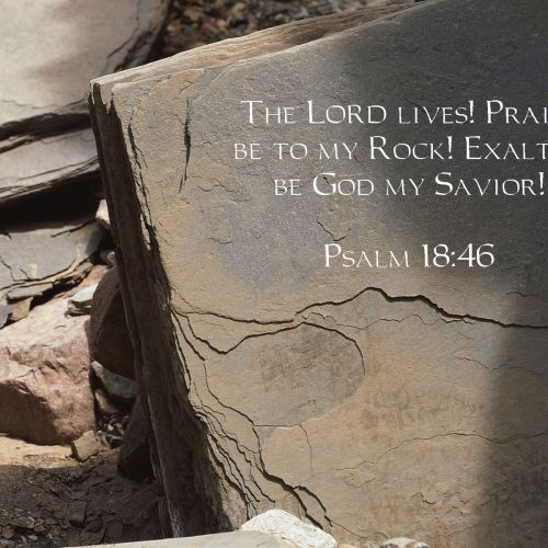 Psalm 18:46 christian wallpaper free download. Use on PC, Mac, Android, iPhone or any device you like.