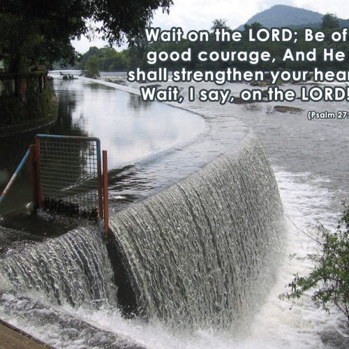 Psalm 27:14 christian wallpaper free download. Use on PC, Mac, Android, iPhone or any device you like.