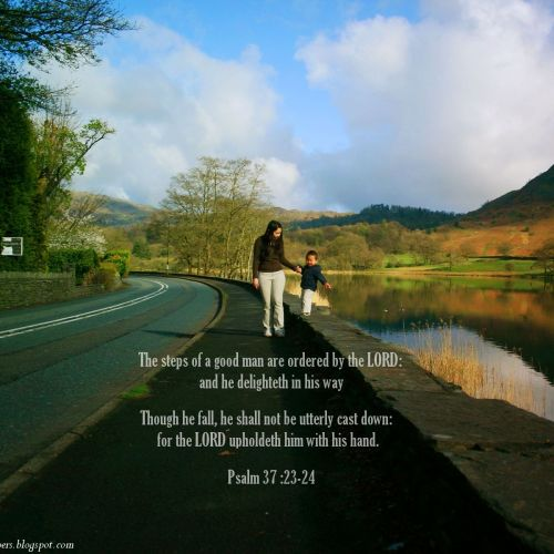 Psalm 37:23-24 christian wallpaper free download. Use on PC, Mac, Android, iPhone or any device you like.