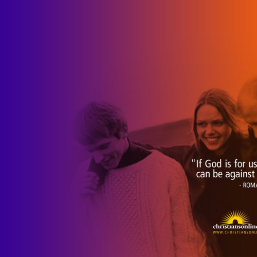 Romans 8:31 christian wallpaper free download. Use on PC, Mac, Android, iPhone or any device you like.