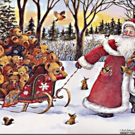 Teddy Bears and Santa Wallpaper