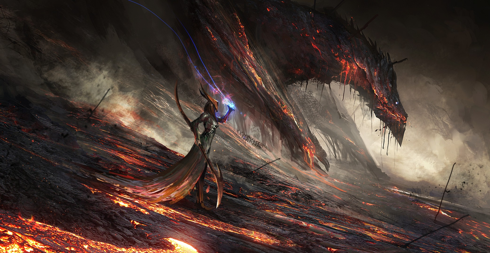 Fantasy World Art Dragon Fantasy Art Dragon Lava Mage Magic Wallpaper