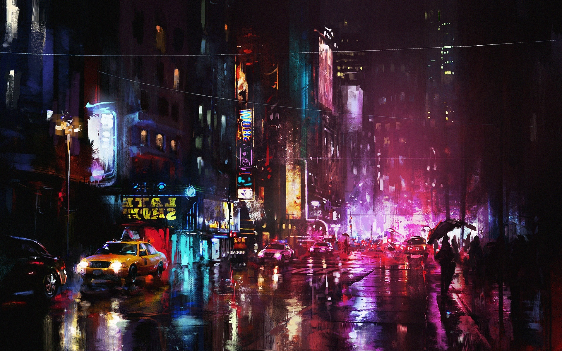 Street Light At Night Painting Art Painting Night City Street Lights Wallpaper Art