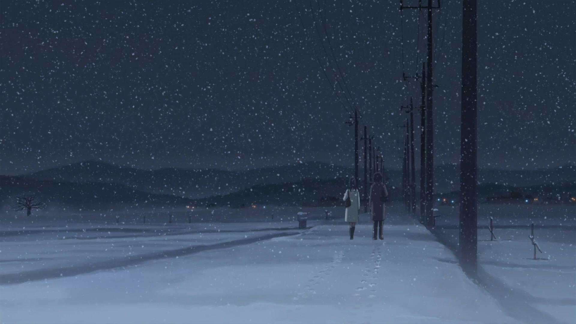 Falling Snow Desktop Wallpaper Winter Anime Wallpapers Wallpaper Cave