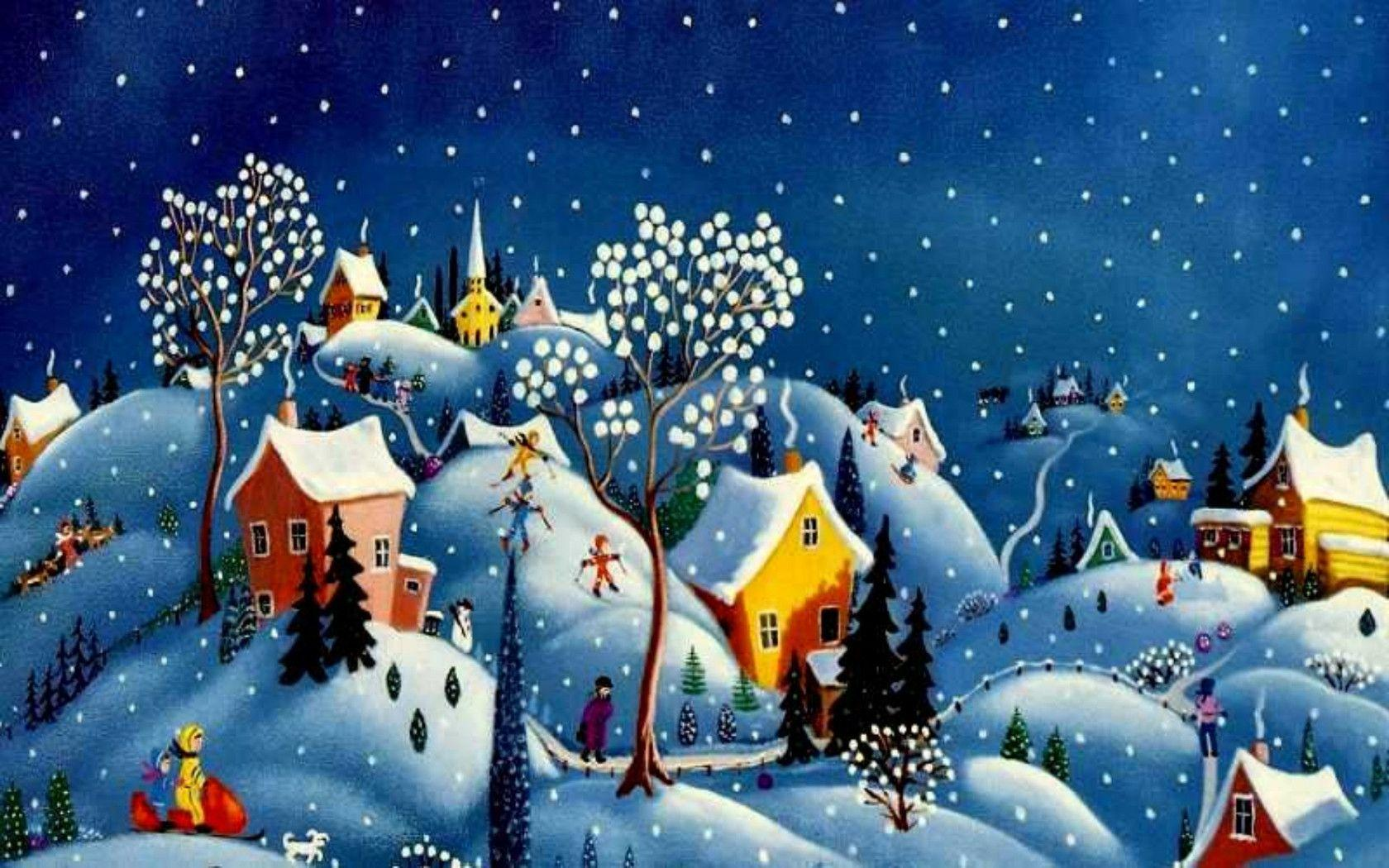 3d Snowy Cottage Animated Wallpaper Windows 7 Christmas Village Wallpapers Wallpaper Cave