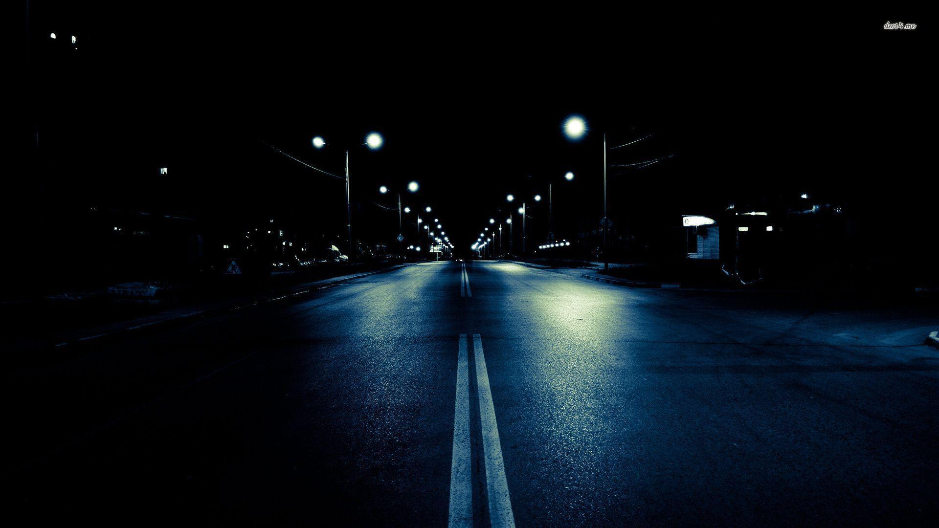Dark City Street At Night City Street Backgrounds Wallpaper Cave