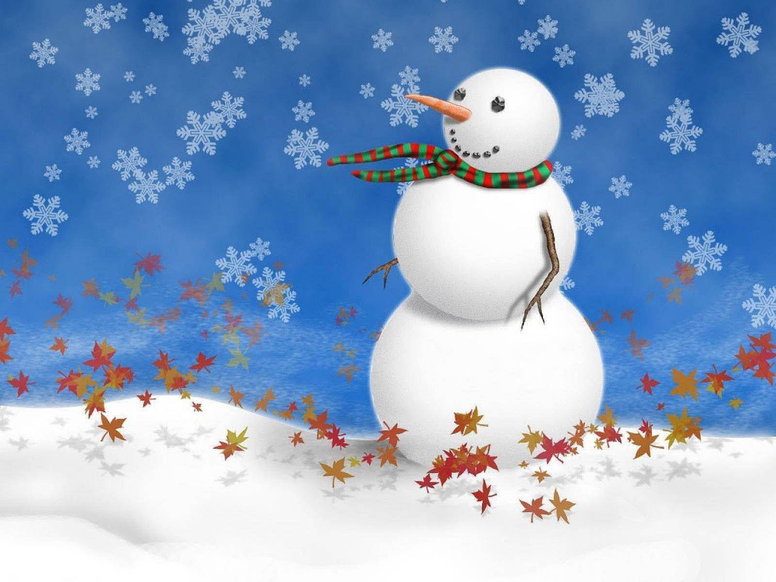 Frosty Fall Leaves Wallpaper Snowman Desktop Backgrounds Wallpaper Cave