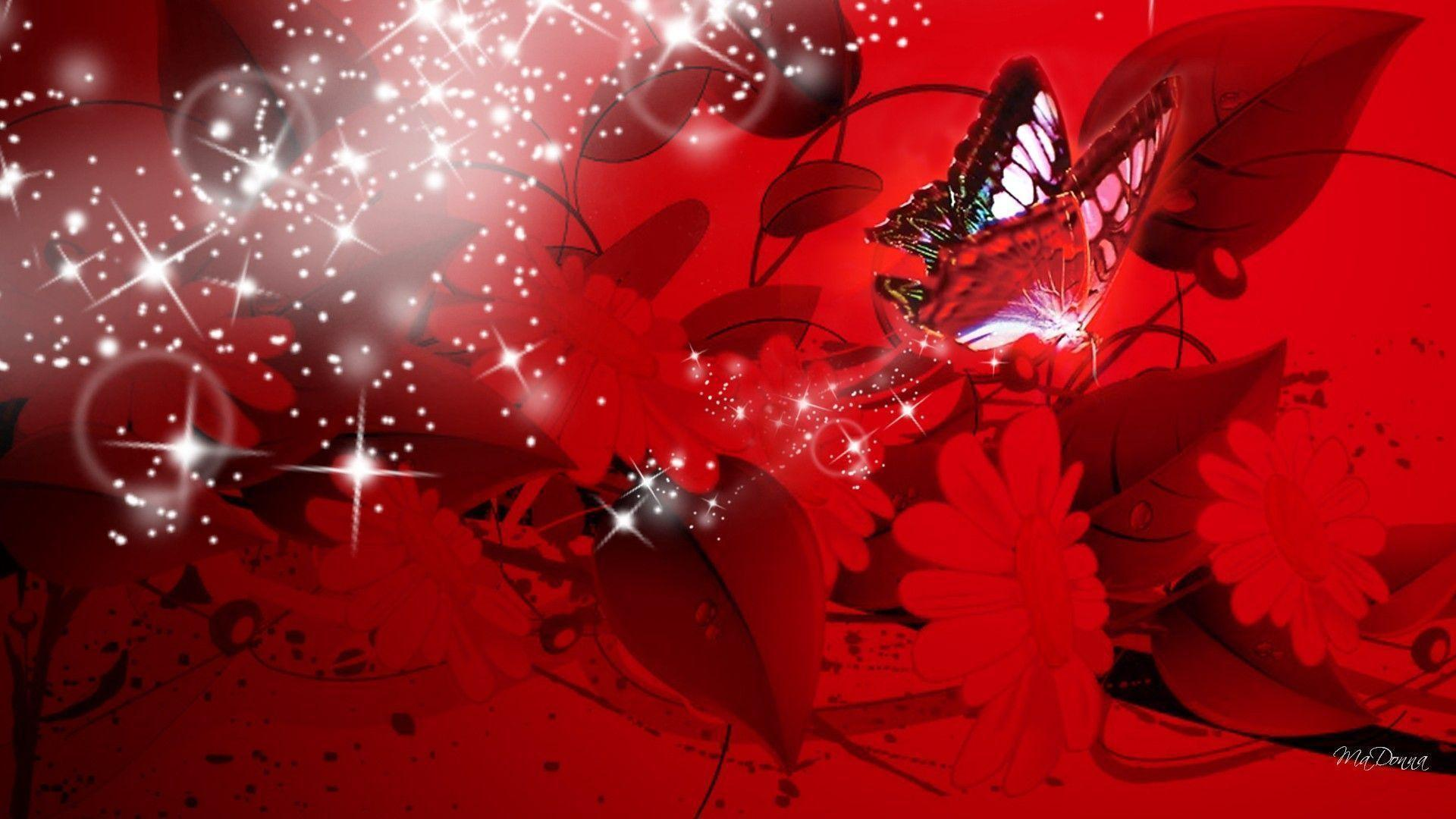 Happy Holidays Anime Girl Wallpaper 1920x1080 Red Butterfly Wallpapers Wallpaper Cave