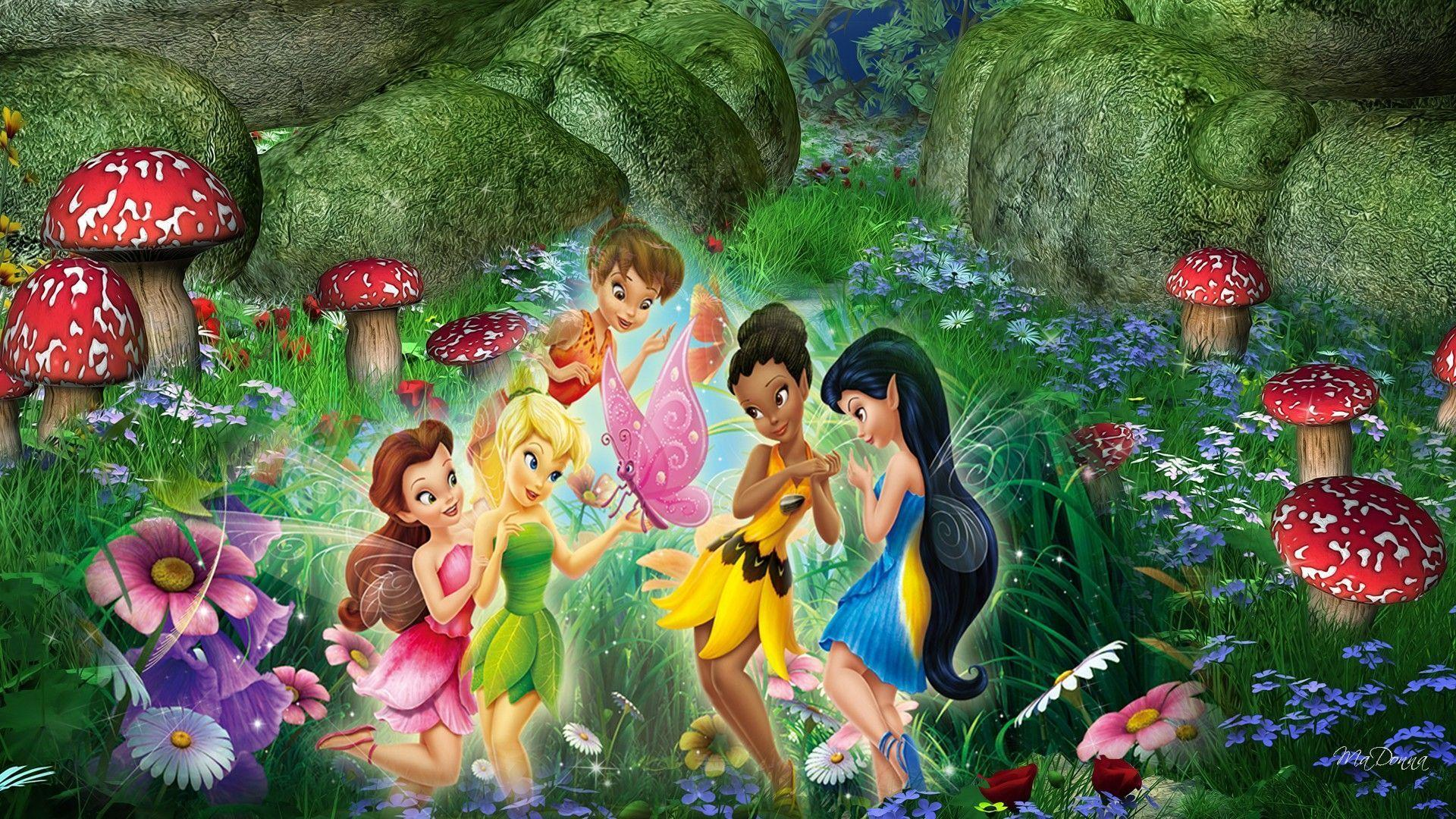 3d Mushroom Garden Wallpaper Download Disney Fairies Wallpapers Wallpaper Cave