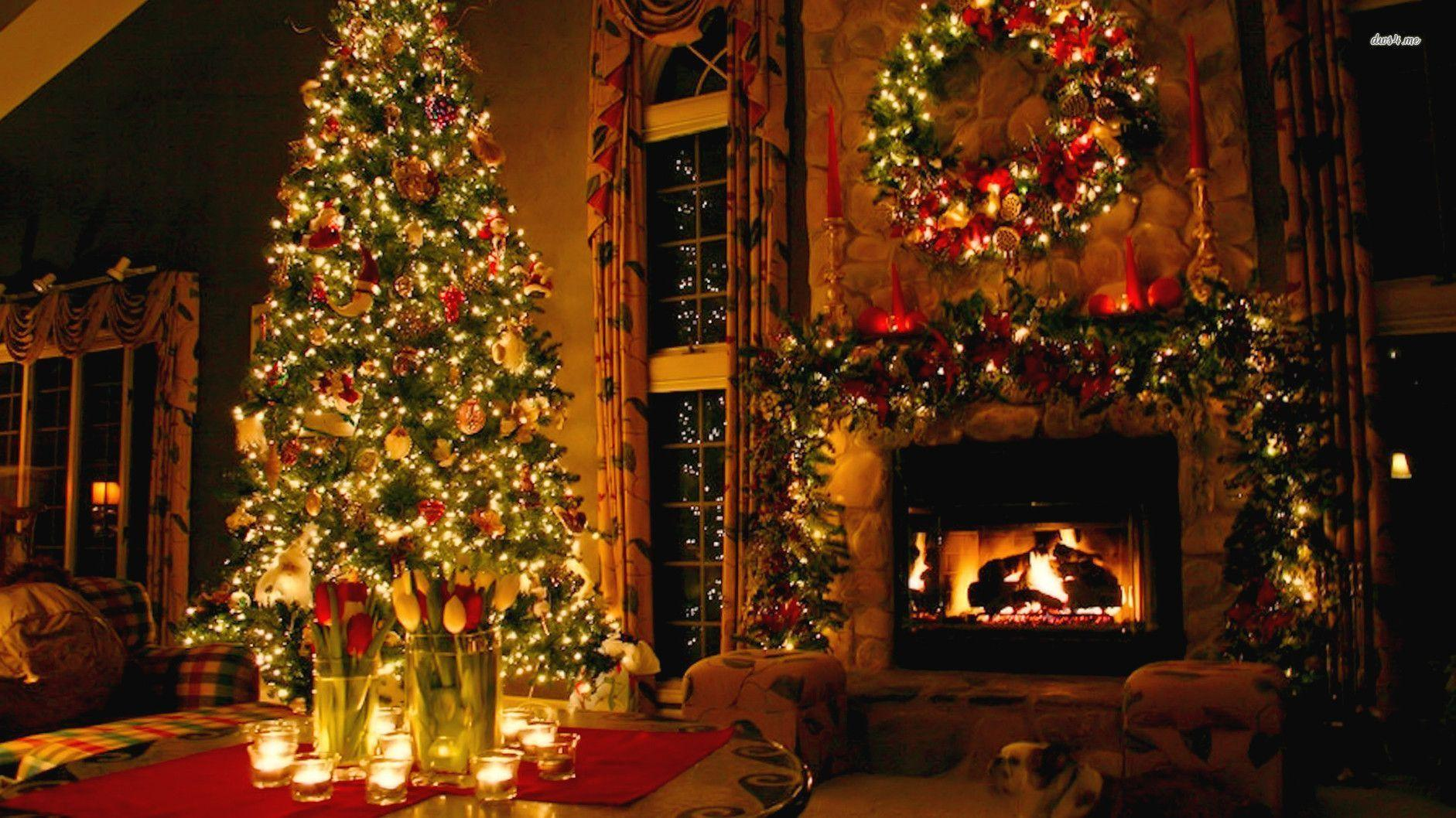 Christmas Fireplace Wallpaper Christmas Fireplace Backgrounds Wallpaper Cave