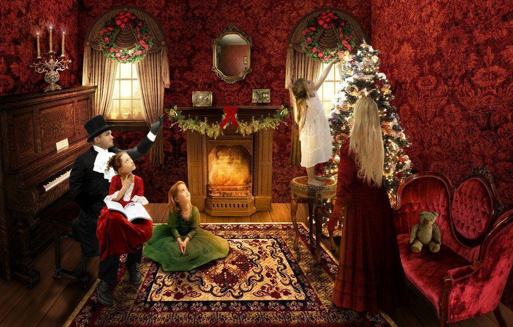 New England Fall Themed Wallpaper Victorian Christmas Wallpapers Wallpaper Cave