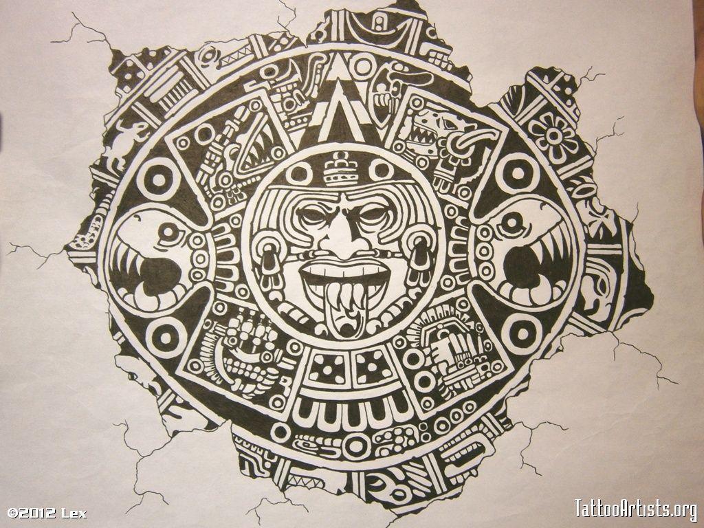 Girl Tattoo Wallpaper Eagle Aztec Calendar Wallpapers Wallpaper Cave