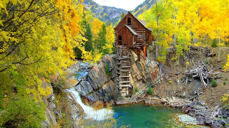 Free Wallpaper Fall 1600x900 Crystal Mill Colorado Hd Wallpaper Wallpaperfx