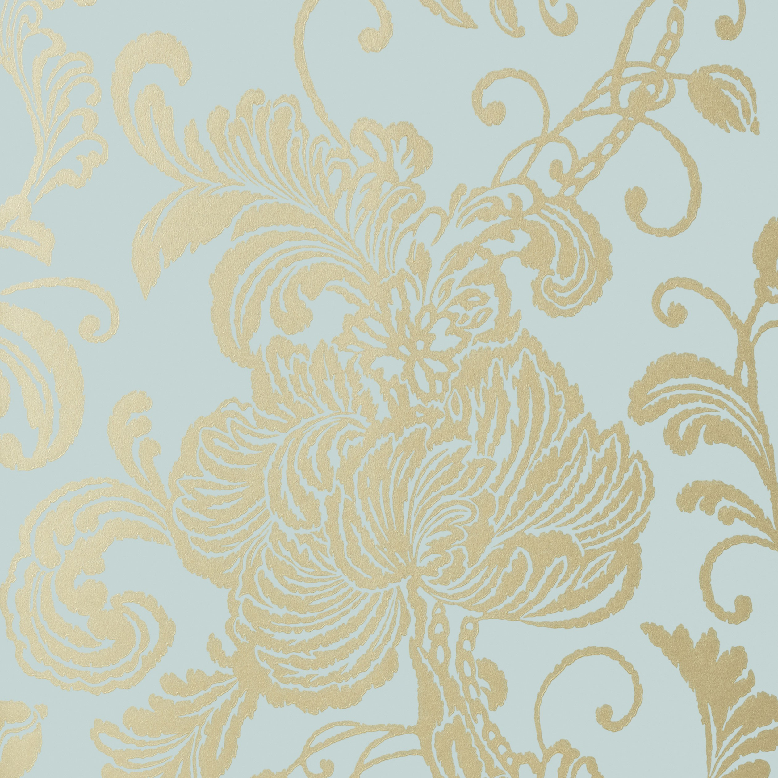 Metallic Gold Wallpaper Verey Floral Damask Metallic Gold On Aqua Blue Af At6010
