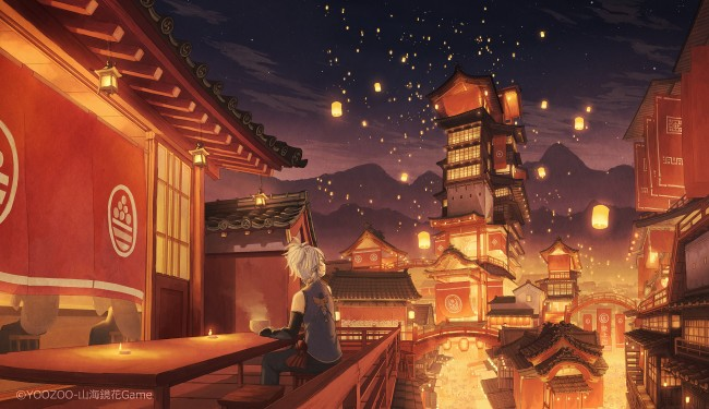 17 Inch Tv Wallpaper Anime Festival, Lanterns, Traditional Buildings