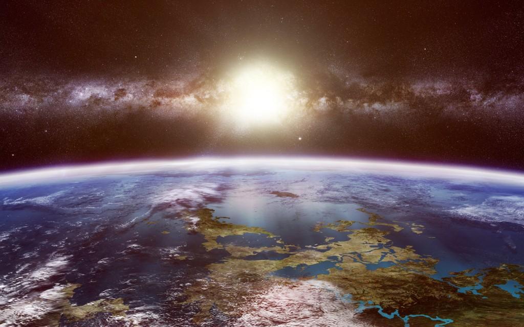 High Resolution Wallpaper Fall Sun Shining Down On Earth Space