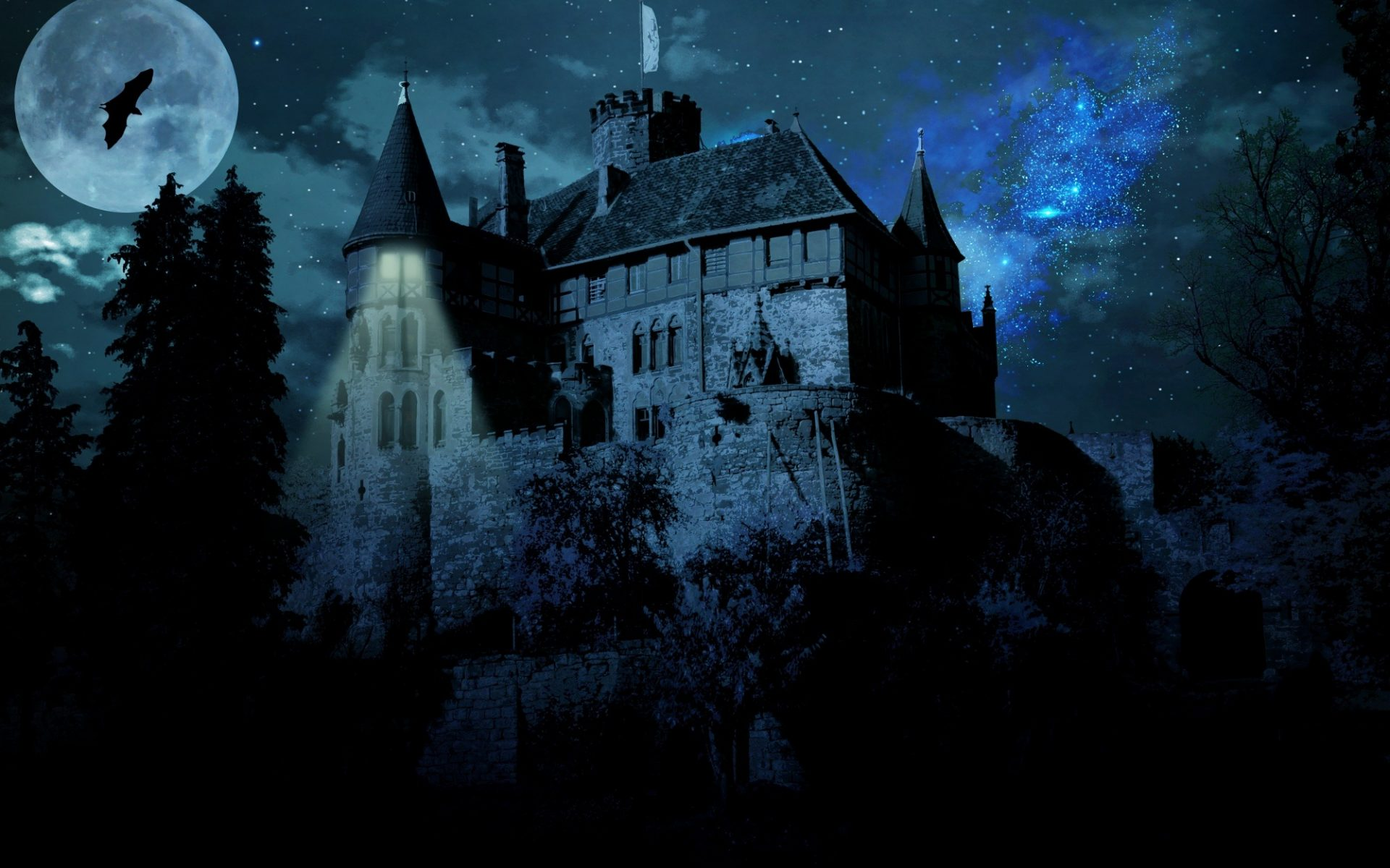 1920x1280 Wallpaper Cars A Haunted Castle On A Full Moon Night Hd Wallpaper