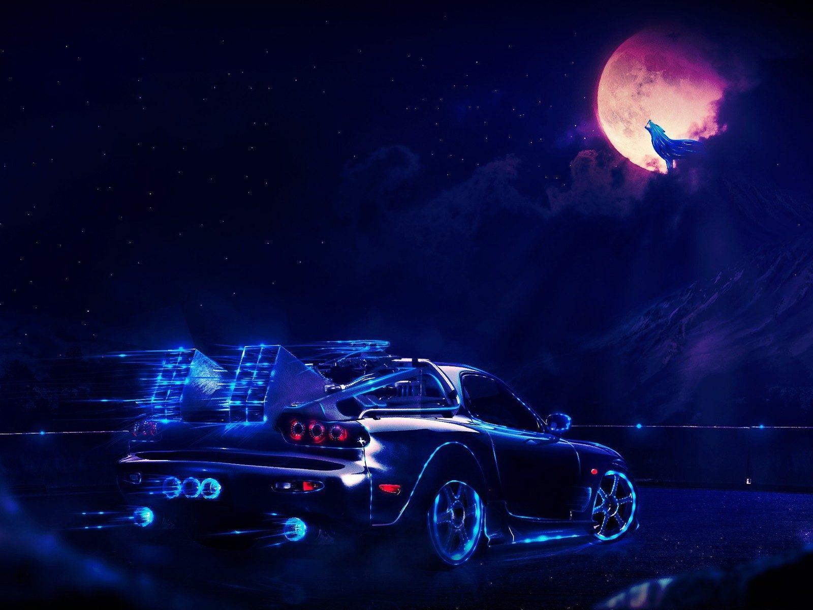 Hd Earth Wallpaper Widescreen Back To The Future Delorean At Night Hd Wallpaper