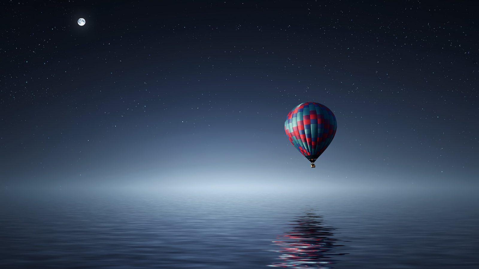Free 3d Moving Wallpapers For Desktop Hot Air Balloon Over The Ocean Hd Wallpaper Hd Wallpaper