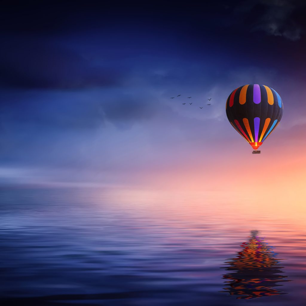 3d Fire Name Wallpaper Hot Air Balloon Over The Ocean At Sunset Hd Wallpaper