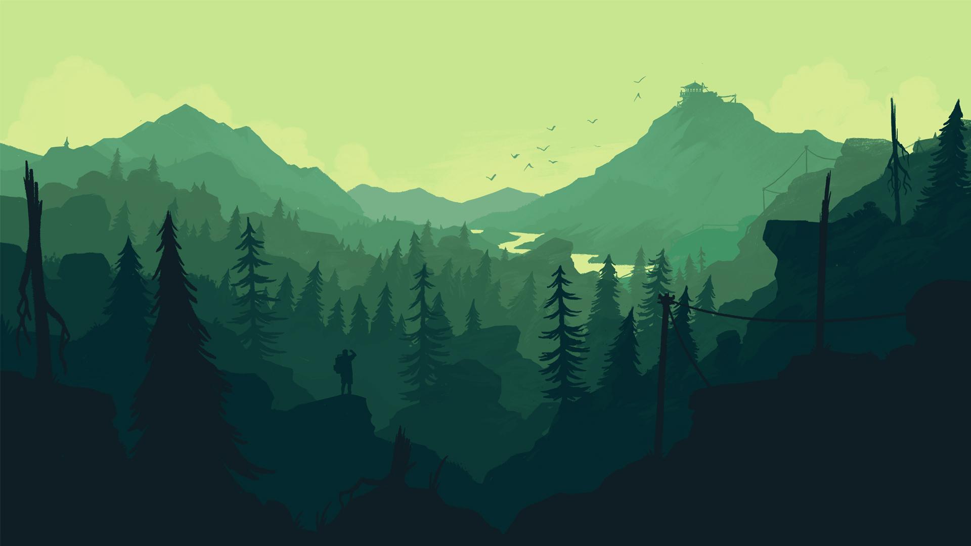 Cartoon Wallpapers For Iphone X Firewatch Widok Na Zieloną Dolinę Tapeta Z Gry
