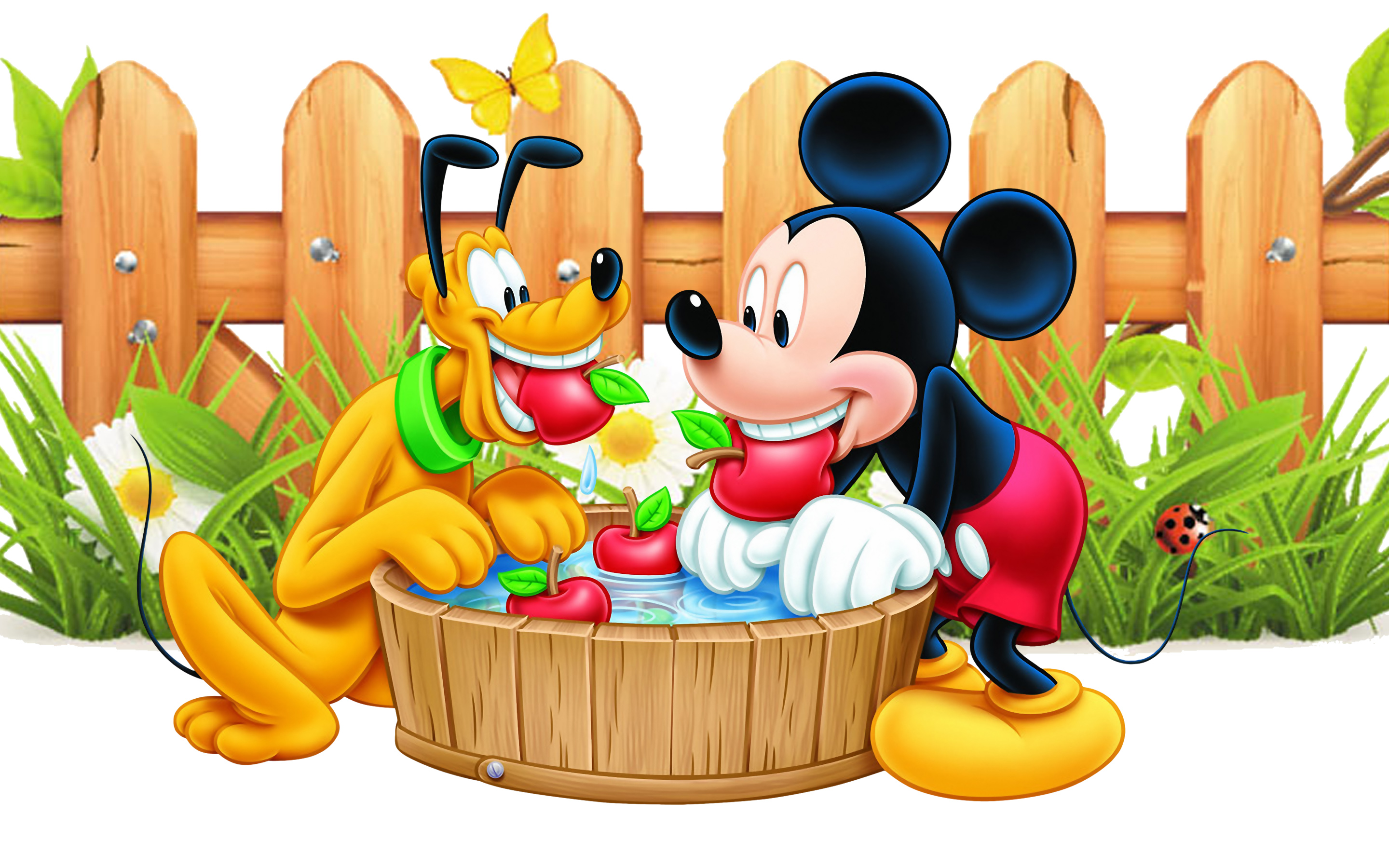 And Disney Mickey Minnie Mickey Mouse And Pluto Apple Red Wooden Fence Desktop