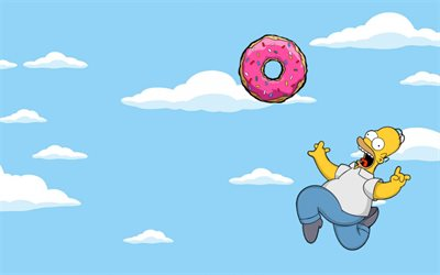 The Simpsons 3d Wallpaper Download Wallpapers Homer Simpson Sky Donut The