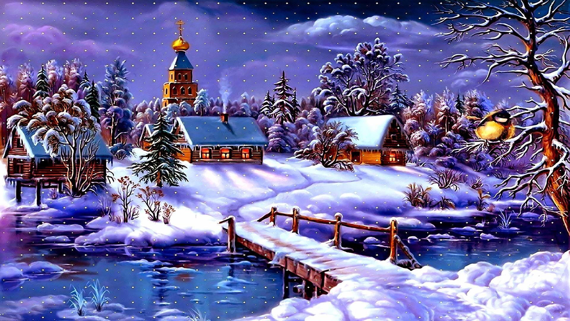 Live 3d Wallpaper Snowing Christmas Village Wallpaper 55 Pictures