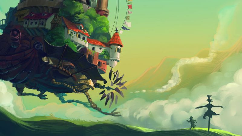 Mac Moving Wallpaper Hd Wallpaper Howl S Moving Castle Turnip Head Meadow Anime