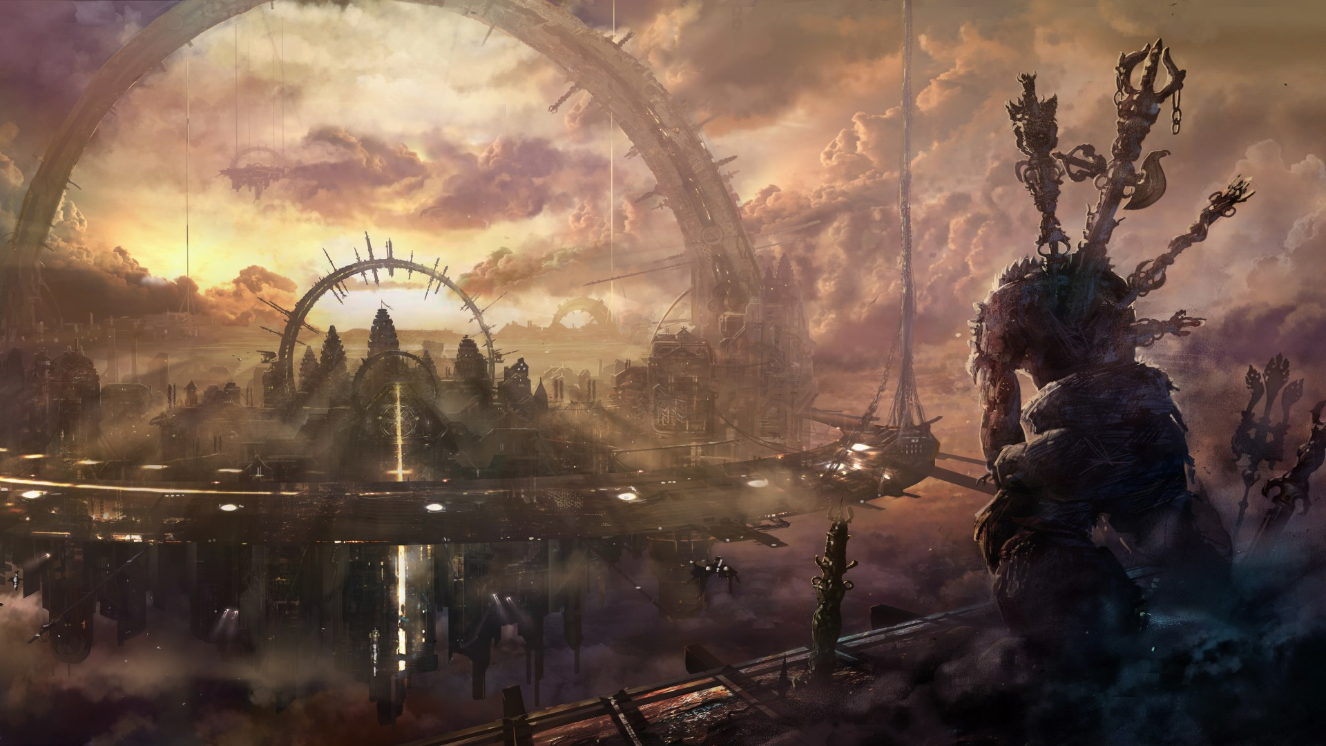 Wallpaper Killzone Shadow Fall Wallpaper Heaven City Arch Building Space Station