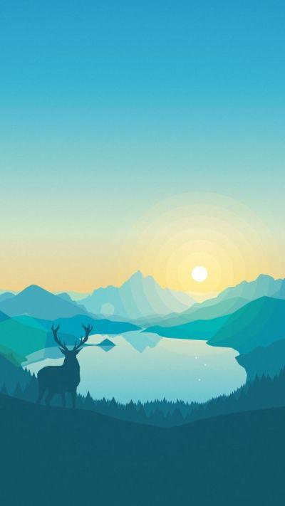 Wallpaper flat, forest, deer, 4k, 5k, iphone wallpaper, abstract, Art #11925