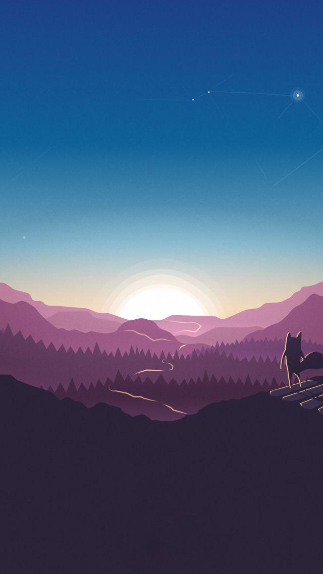 Vertical Wallpaper Hd Wallpaper Forest Sunset Fox 4k Abstract 15517