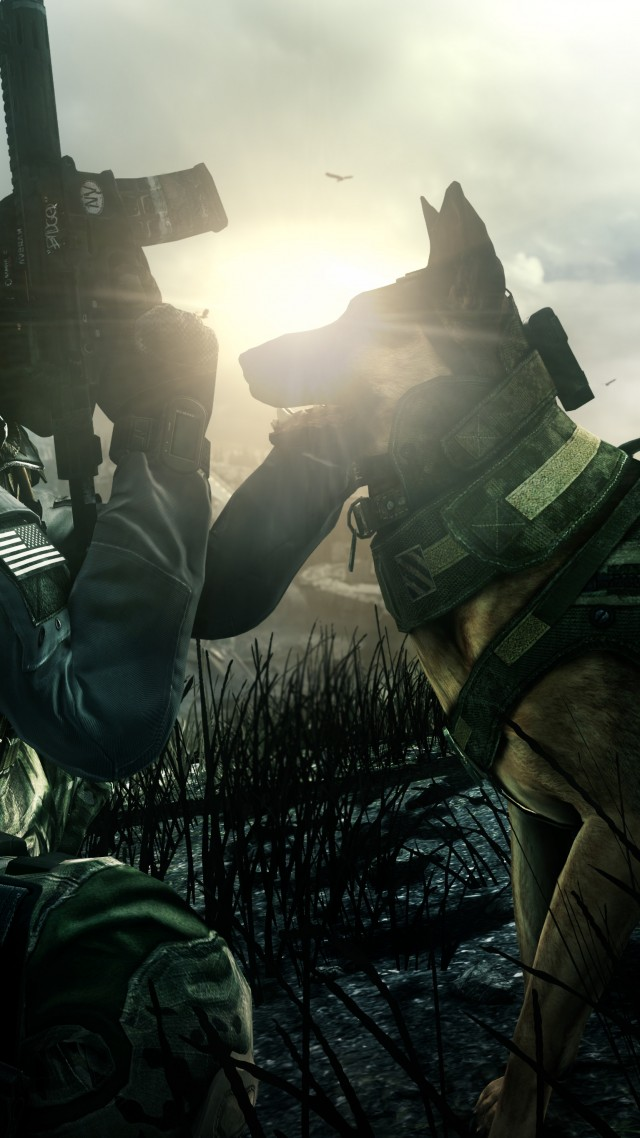 3d Action Game Wallpaper Wallpaper Call Of Duty Ghosts Game Shooter Soldier Dog