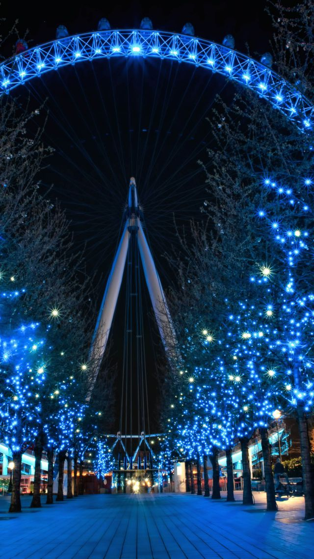 Free Xmas Wallpapers Animated Wallpaper London Eye England Travel Tourism Night