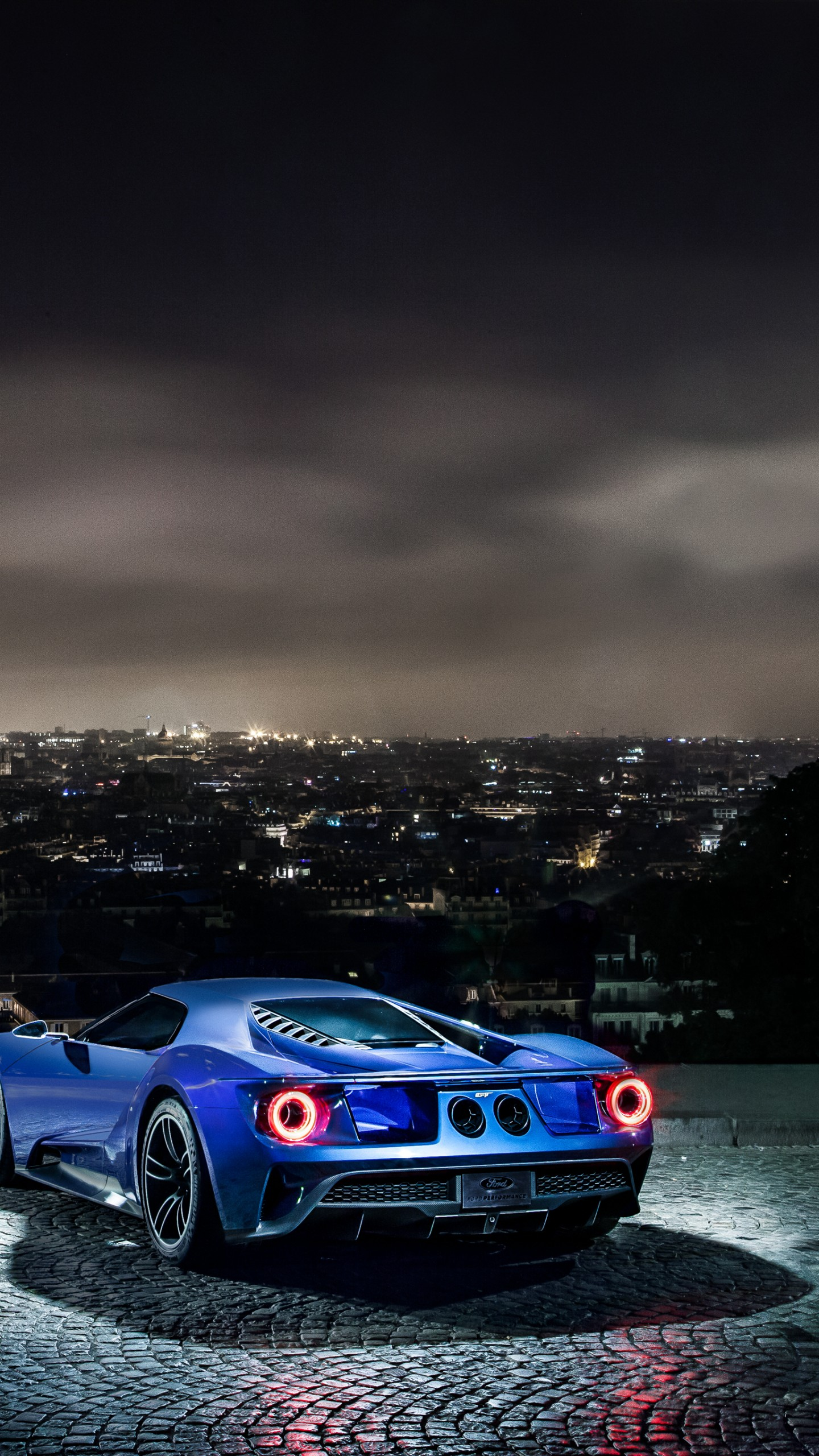 Car Wallpaper Smartphone Wallpaper Ford Gt Supercar Concept Blue Sports Car