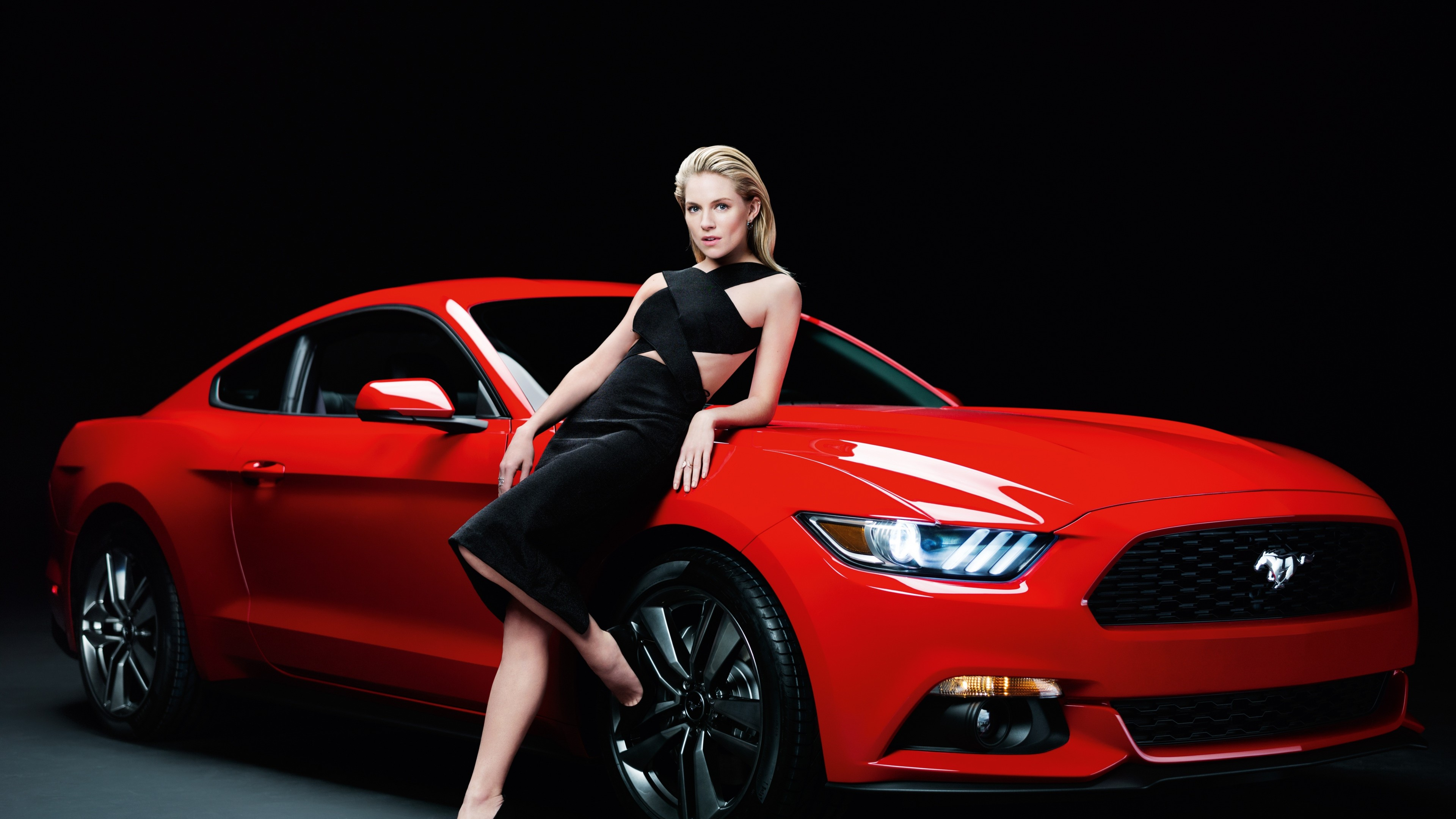 4k Wallpaper Muscle Car Wallpaper Ford Mustang Sienna Miller Girl Red Coupe