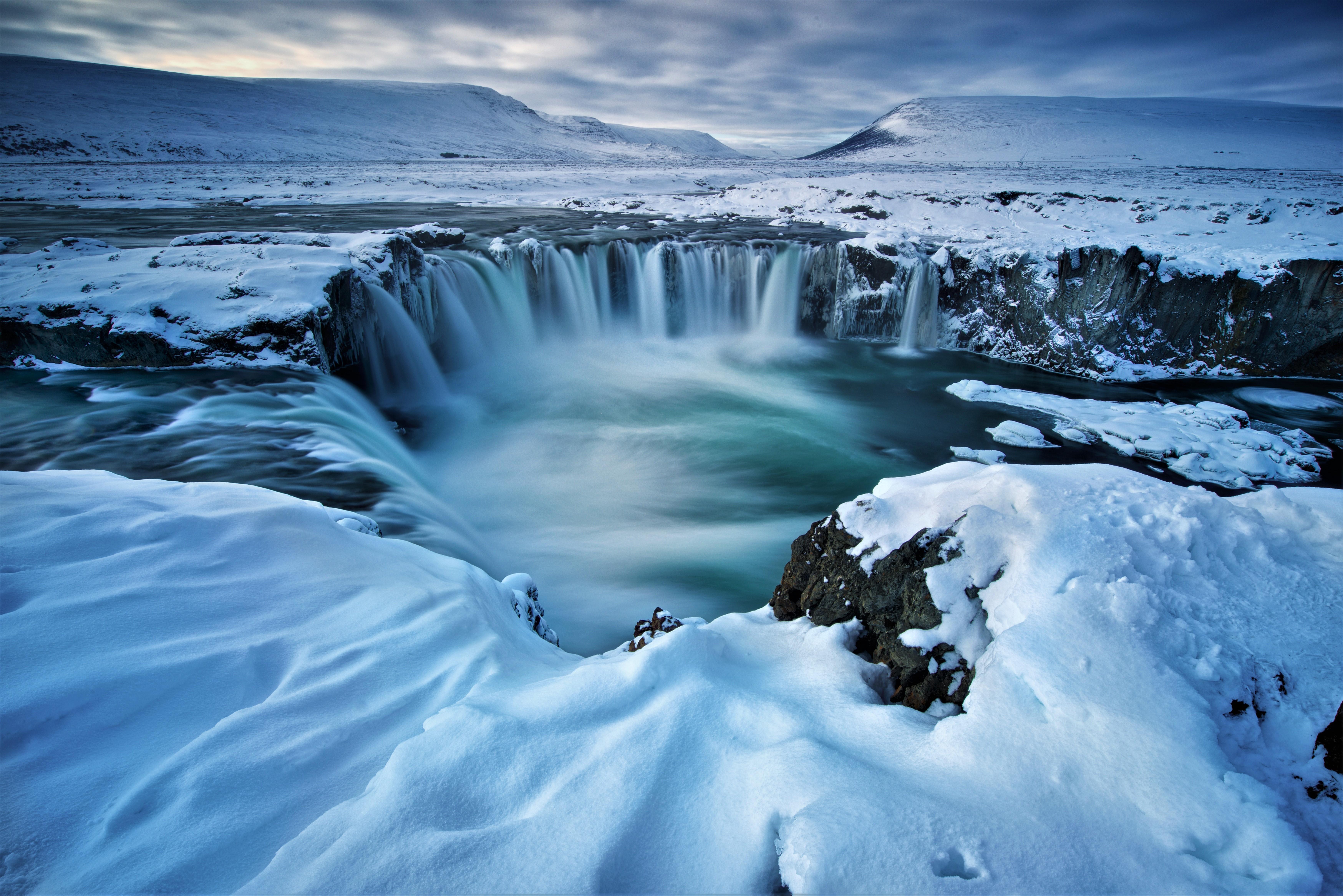 Niagara Falls At Night Wallpaper Hd Wallpaper Godafoss Waterfall Winter Iceland 5k Nature
