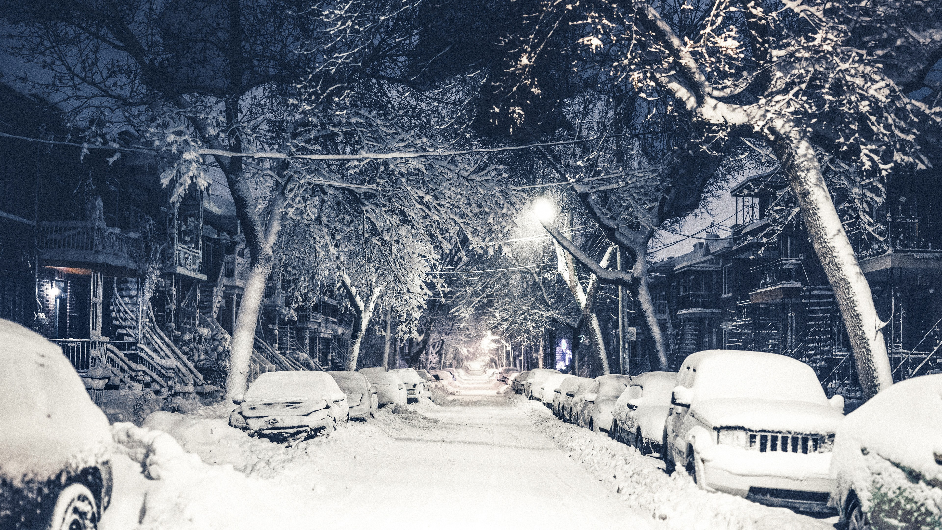 Dual Screen Car Wallpaper Wallpaper New York Winter 4k 5k Snow Street Os 12802