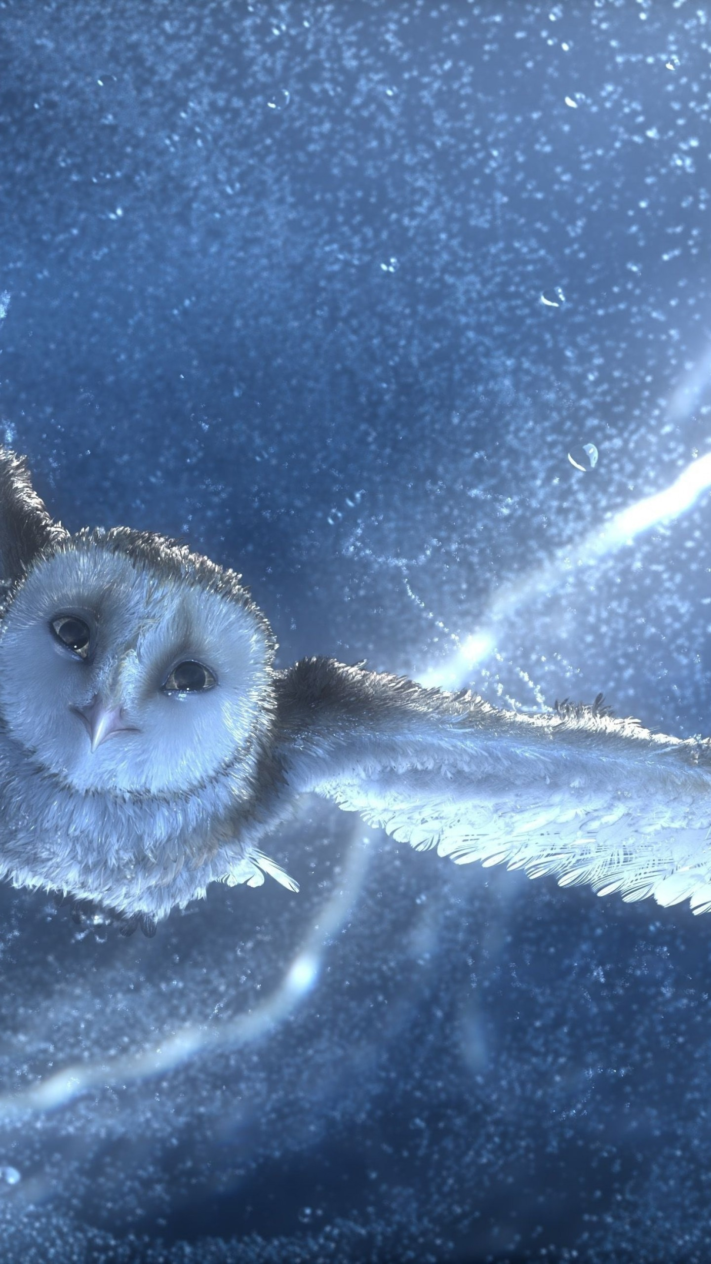 Hd Life Wallpapers Wallpaper Owl Flying Snow Storm Lightning Blue Bird