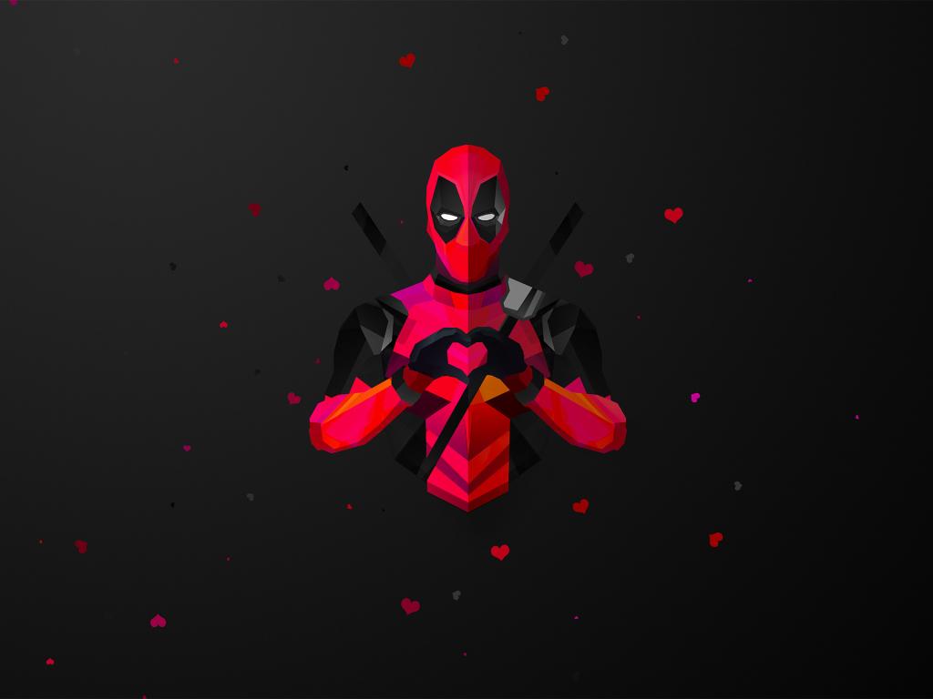 Deadpool Wallpaper Hd 1080p Desktop Wallpaper Low Poly Deadpool Minimal Marvel