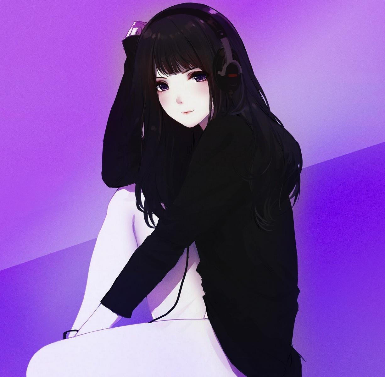 Fantasy Girl Wallpaper Full Hd Desktop Wallpaper Headphone Cute Anime Girl Black