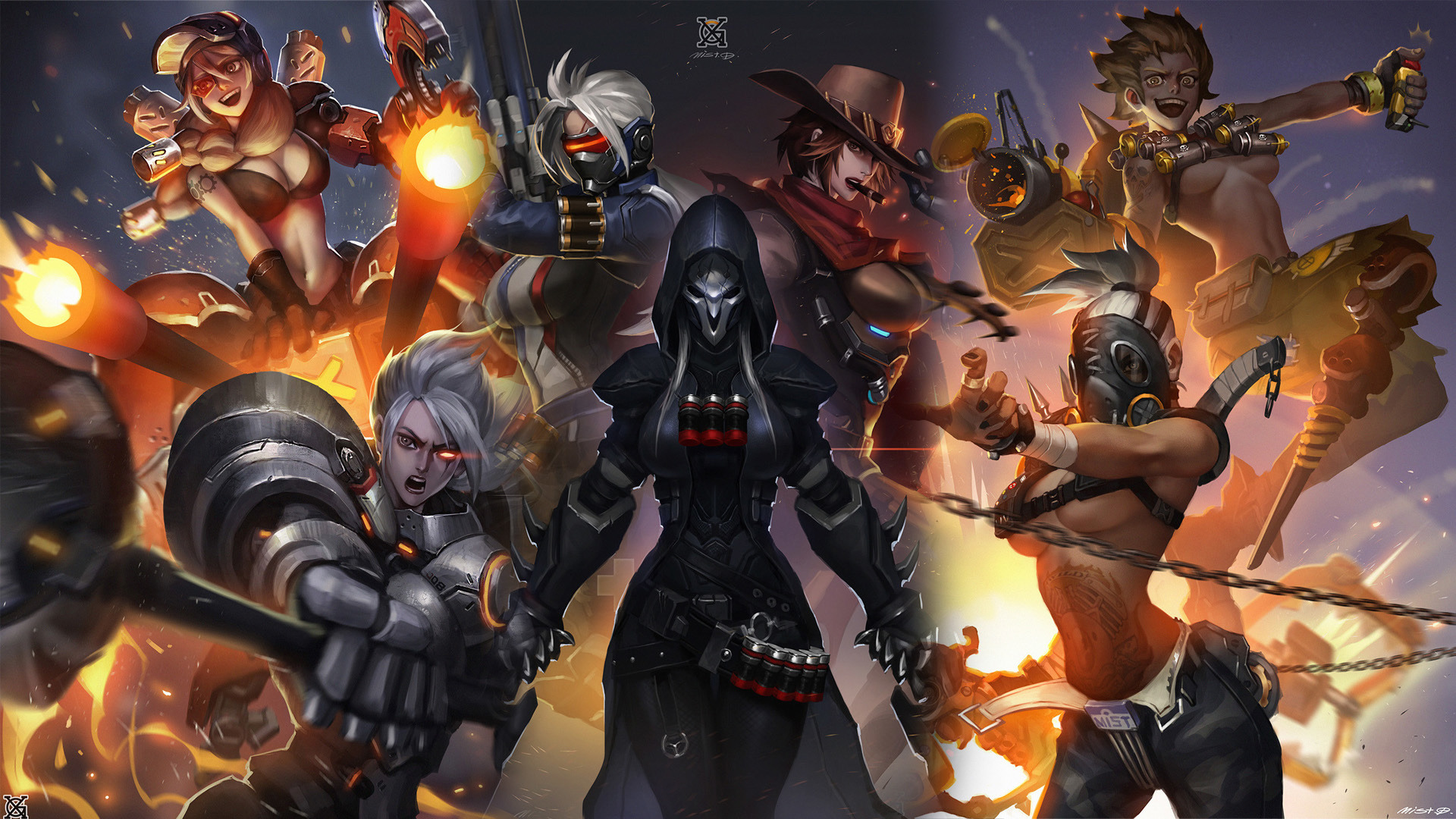 Anime Girl Android Wallpaper Download 1920x1080 Wallpaper Overwatch Girl Warriors All