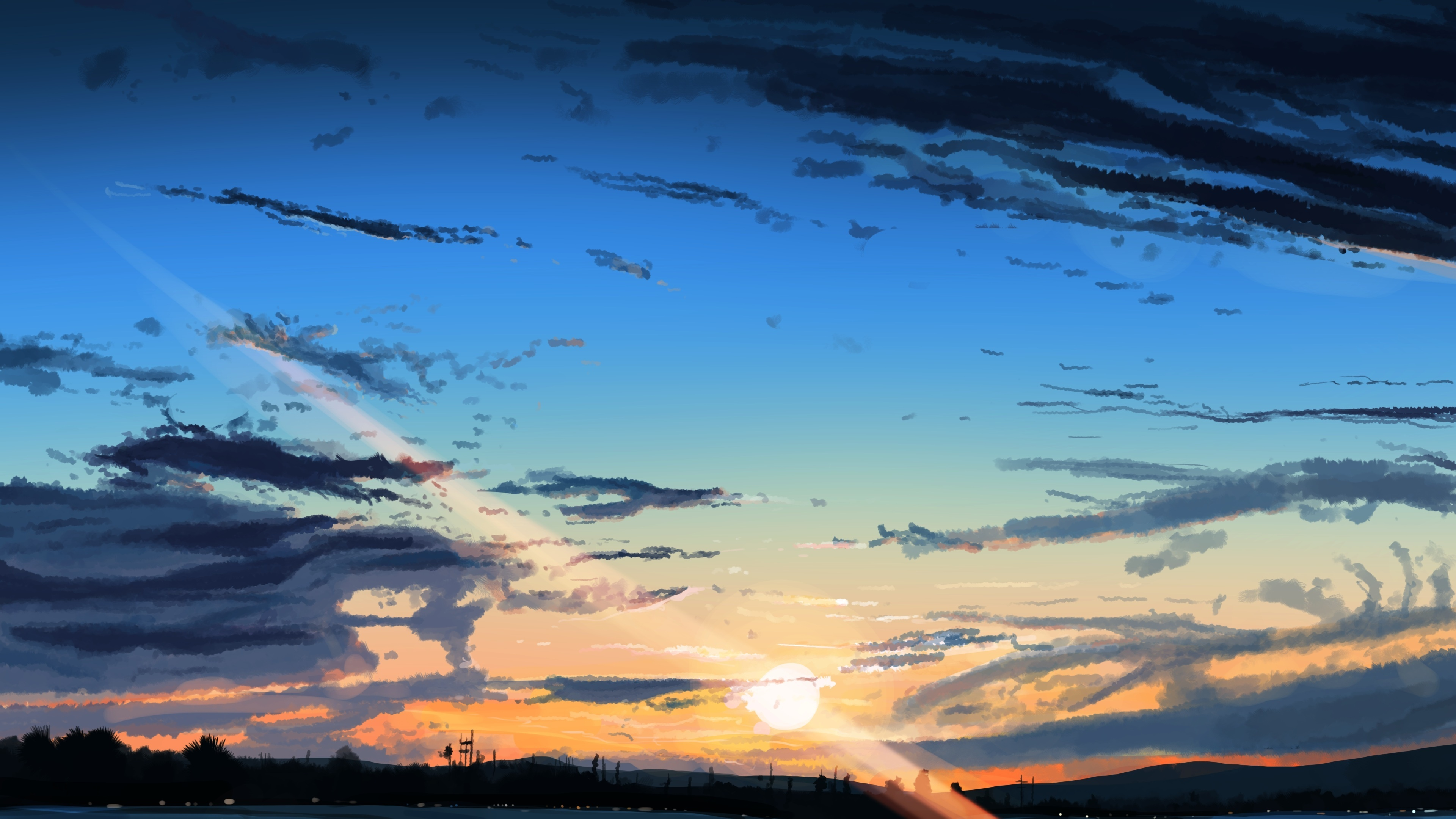 Sky Anime Download 3840x2400 Wallpaper Sunset Sky Anime Clouds Original
