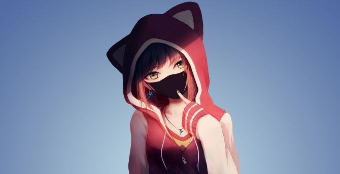 Cute Anime Pink Hair Neko Wallpaper Hd Desktop Wallpaper Anime Girl In Hoodie Mask Original Hd