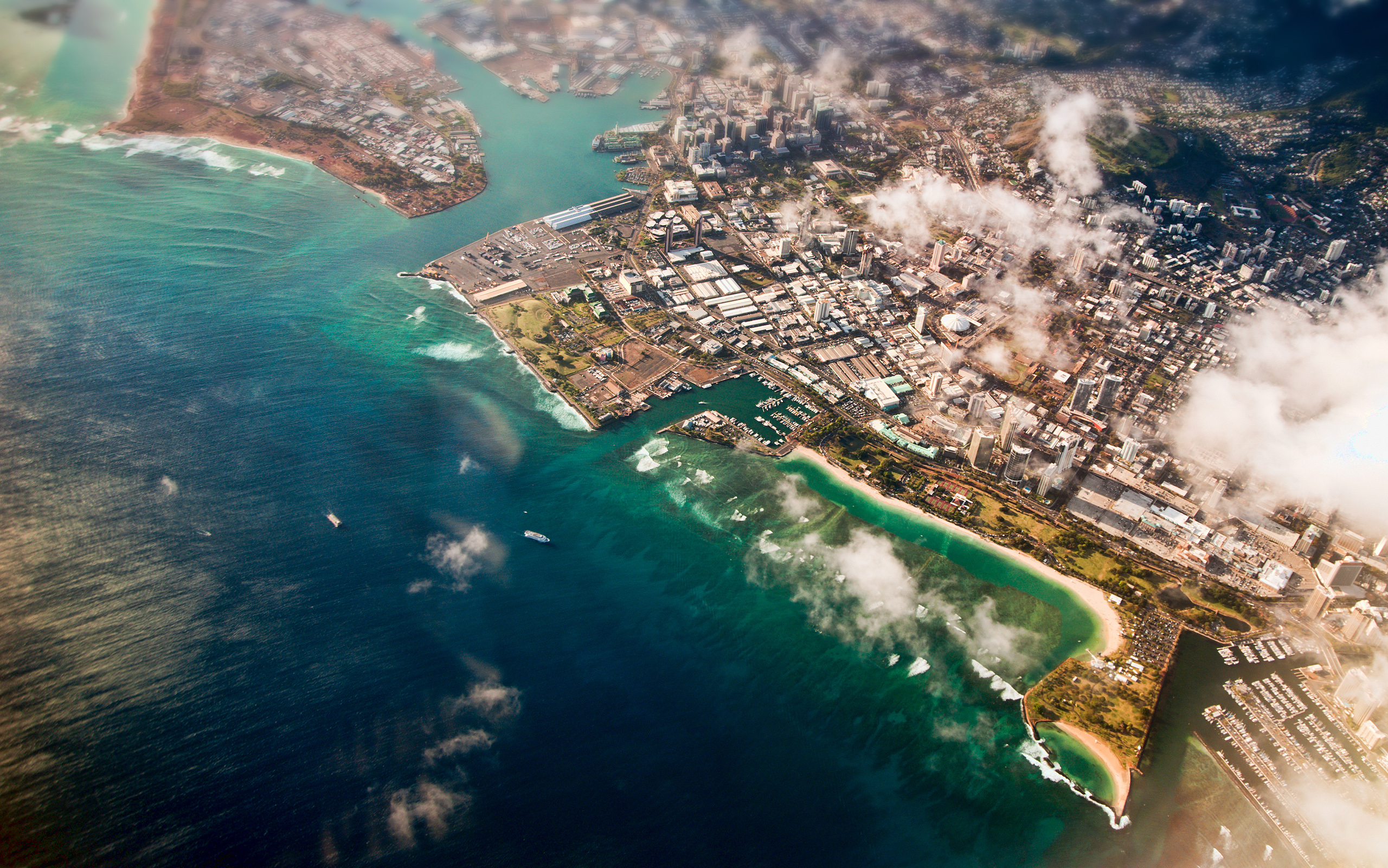 3d Tsunami Wallpapers Aerial View Of Honolulu Hawaii Wallpapers Aerial View Of