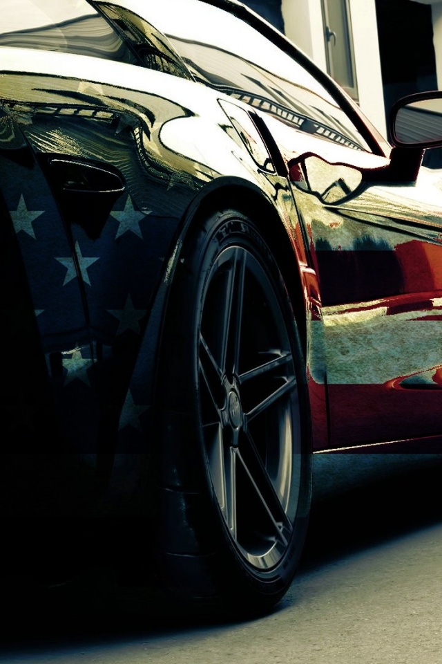 640x960 Hd Wallpapers 640x960 American Flag Corvette Section Desktop Pc And Mac