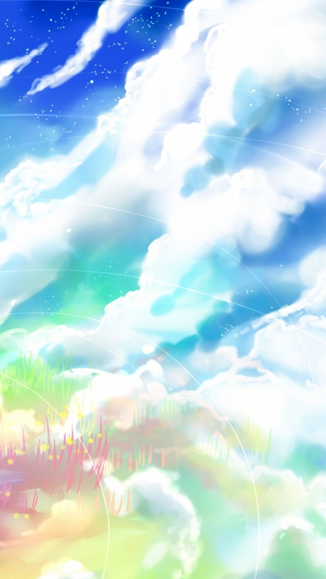 Cute Anime Girl Phone Wallpaper 640x1136 Anime Girl Rock Clouds Amp Sky Iphone 5 Wallpaper