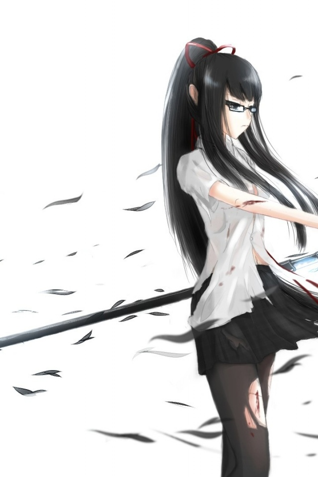 Wallpaper Cute Iphone 640x960 Anime Girl With Katana Sword Iphone 4 Wallpaper