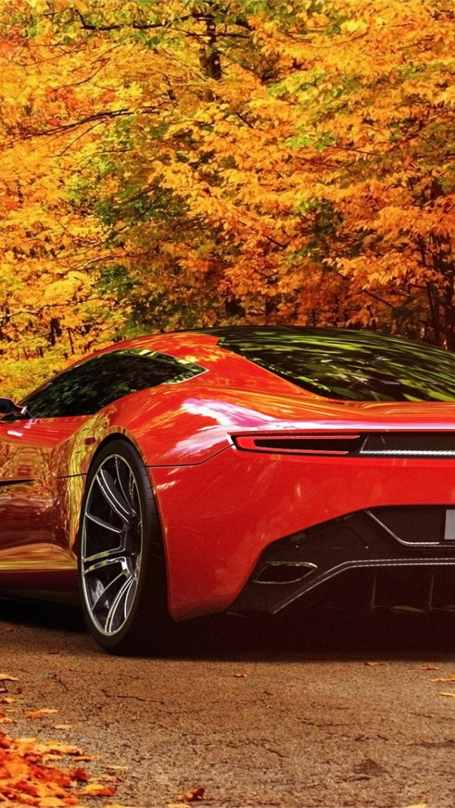 Ferrari Car Wallpaper Download 640x1136 Aston Martin In Autumn Scenery Iphone 5 Wallpaper