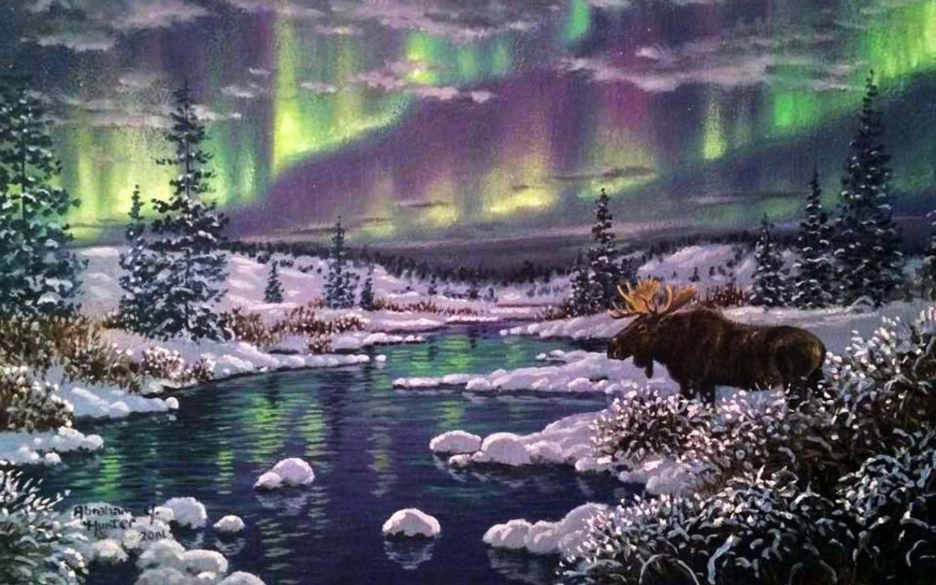 Cute Animated Wallpapers For Desktop Aurora Forest Snow Moose River Wallpapers Aurora Forest